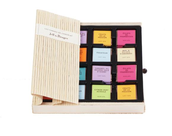 Balení z přírodního bambusu obsahuje 40 ks čtverečků čokolády z kolekce degustace. Tip na úchvatný dárek !