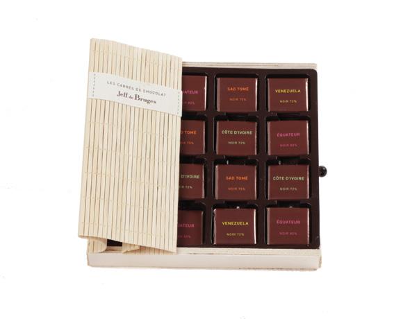 Krabička z přírodního bambusu obsahuje 60 ks hořkých čtverčkových čokolád. Ideální dárek pro milovníky a znalce kvalitní hořké čokolády.