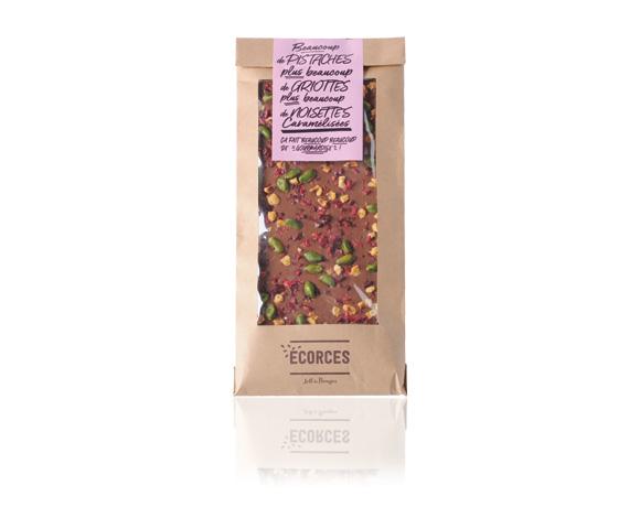 Naše novinka : mléčná čokoláda, višně a pistácie . Přijdte ochutnat!