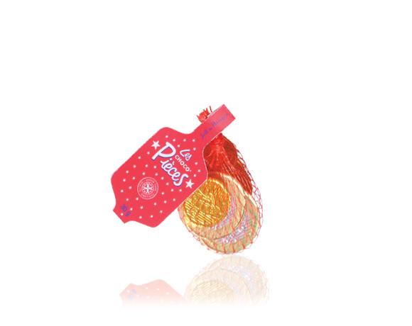 Tradiční čokoládové penízky EURA v mléčné čokoládě v různých velikostech.