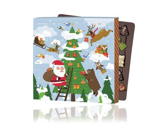 kalendář obsahuje nugát, Jeff , stromeček v mléčné čokoládě, penízky, vánoční bonbony a želatinové medvědy.