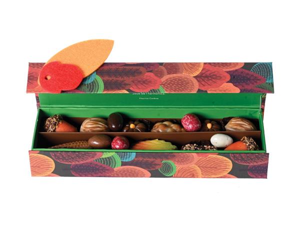 Krásná krabička plná podzimních novinek, marcipán, pralinky, lískové oříšky v čokoládě : neodoláte nejen obalu, ale i lahodné náplni.