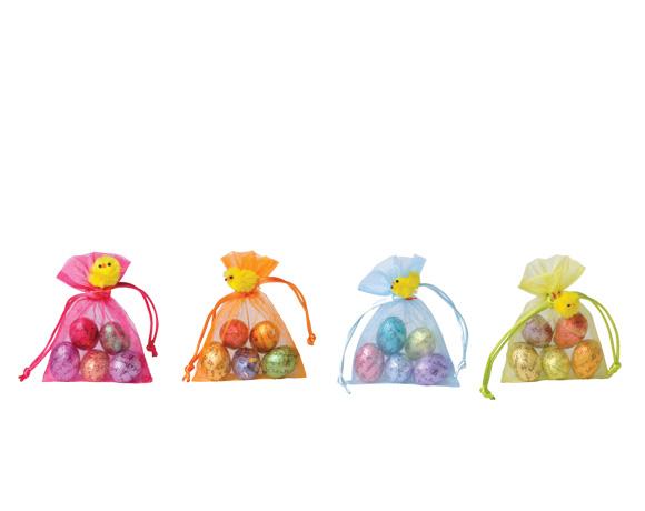 malý dárek ? Překvapení ? Krásný sáček v různých barvách ukrývá 5 malých čokoládových vajec, růžné receptury.