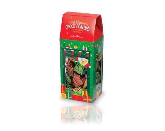 Pouzdro obsahuje kolem 30 ks vánočních čokoládových bonbonů, 4 různé receptury, mléčné a hořké.