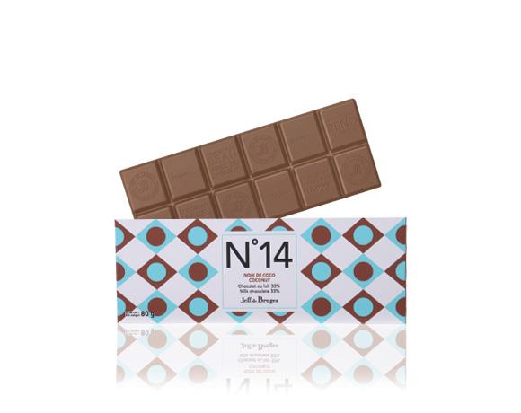 N°14 mlécná cokoláda, kokos 33 % kakaa.