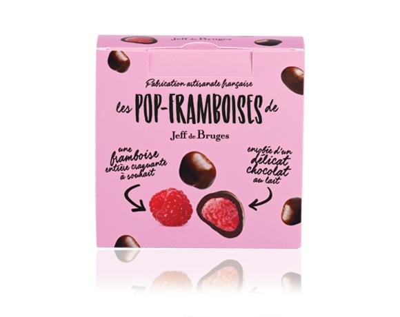 celá malina obalená v 36 % čokoládě, nakyslé a lehké potěšení.